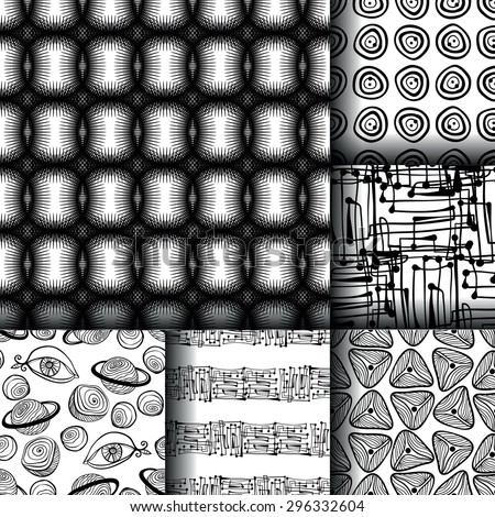 Set of 6 monochrome black and white elegant seamless patterns. Perfect for wallpapers, pattern fills, web page backgrounds, surface textures, textile