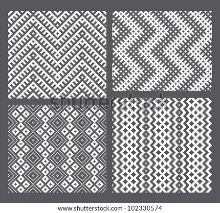 Set of 4 monochrome elegant seamless patterns