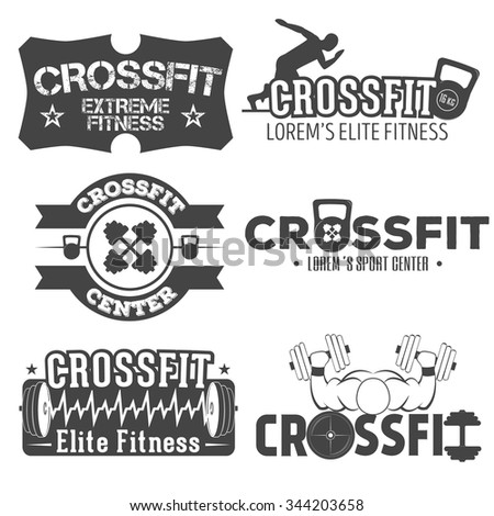 Set of monochrome fitness crossfit  emblems, fitness crossfit  labels,fitness badges, fitness logos and  fitness gym designed elements for your projects, prints, cards, invitations. Sport illustration - stock vector