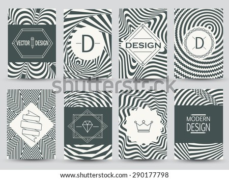 Set of monochrome flyer pages.  Business Signs, Logos, Identity Elements, Labels, Badges, Frames, backgrounds. - stock vector