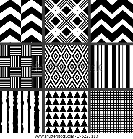 Set of monochrome geometric patterns