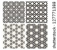 Set of monochrome geometric patterns. Seamless textures - stock vector