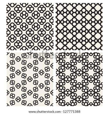 Set of monochrome geometric patterns. Seamless textures - stock vector