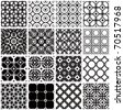 Set of monochrome geometric seamless patterns. Vector backgrounds collection. - stock vector