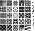 Set of monochrome geometric seamless patterns. Vector backgrounds collection. - stock photo