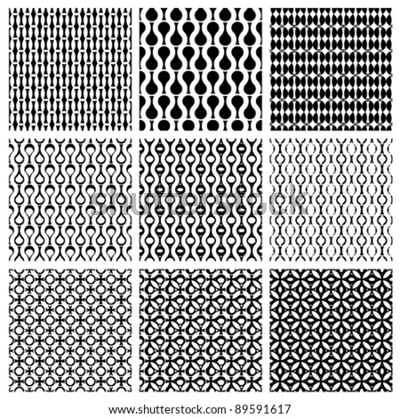 Set of monochrome geometric seamless patterns, vector backgrounds collection. - stock vector