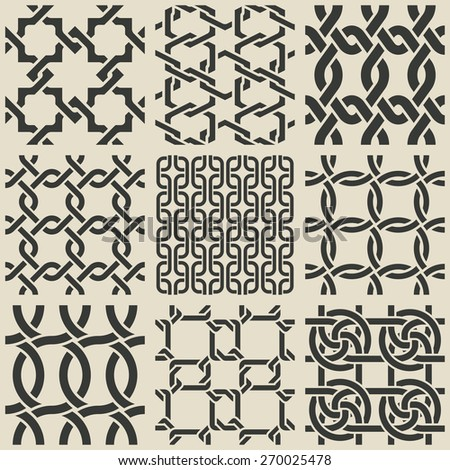 Set of monochrome geometric seamless patterns. Vector collection. eps 8 - stock vector