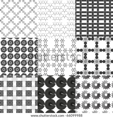 Set of monochrome geometrical patterns. Vector . - stock vector