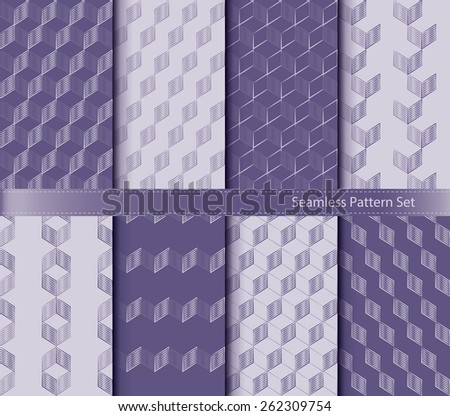 set of monochrome geometrical seamless patterns background - stock vector