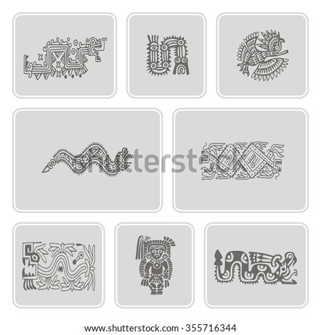 set of monochrome icons with American Indians relics dingbats characters for your design (part 16) - stock vector
