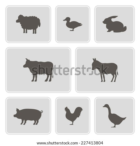 set of monochrome icons with domestic animals for your design - stock vector