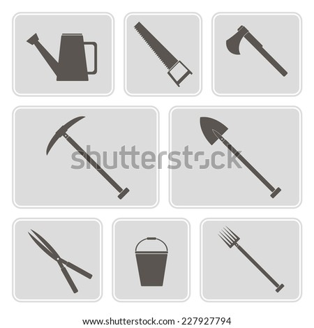 set of monochrome icons with horticultural tools for your design - stock vector