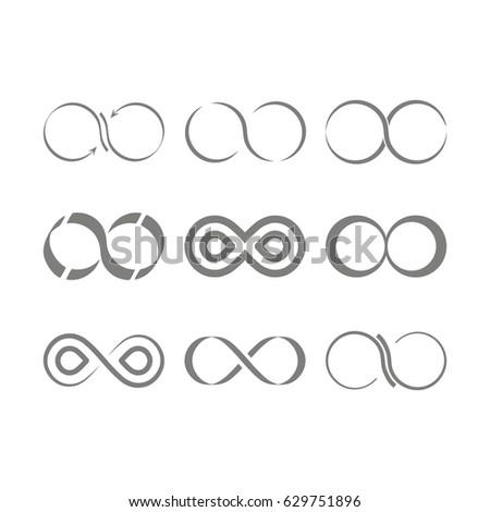 Set Monochrome Icons Infinity Symbols Your Stock Vector 629751896