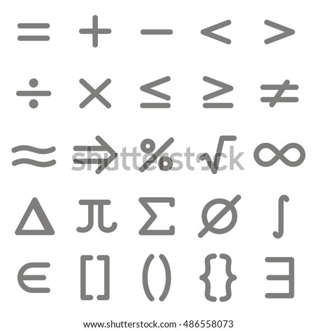 Set Monochrome Icons Mathematical Symbols Your 486558073 on Mathematicians In The Making