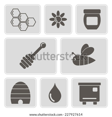 set of monochrome icons with on the theme of beekeeping for your design - stock vector