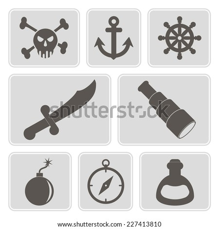 set of monochrome icons with pirate stuff for your design - stock vector