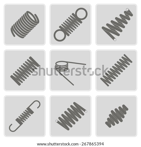 set of monochrome icons with Springs  for your design - stock vector