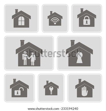 set of monochrome icons with symbols of home for your design - stock vector