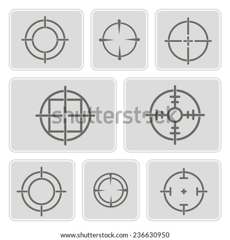 set of monochrome icons with symbols of sniper scope for your design
