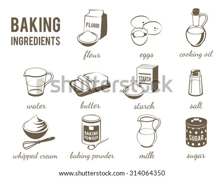Set of monochrome, lineart food icons: baking ingredients - flour, eggs, oil, water, butter, starch, salt, whipped cream, baking powder, milk, sugar. Vector illustration, isolated on transparent background, eps 10. - stock vector
