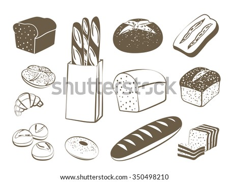 Set of monochrome, lineart food icons: bread - rye bread, ciabatta, wheat bread, whole grain bread, bagel, sliced bread, french baguette, croissant and so. Vector illustration, isolated on white. - stock vector