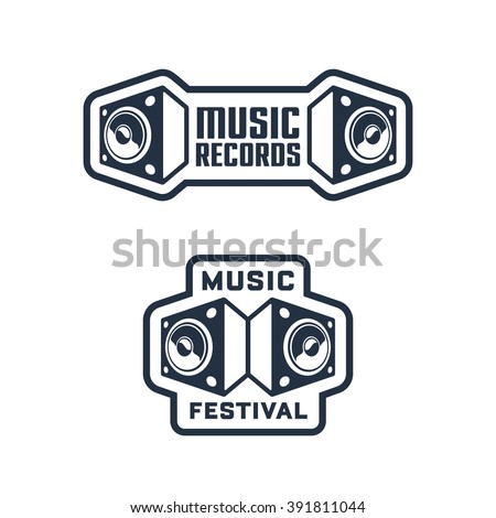 Set of Monochrome Music Themed Badges & Labels. Collection of Solid, Bold, Strong & Clean Emblems & Symbols for Music Festival, Band, Record Label, Musical School, Event, Singer, Night Club etc - stock vector