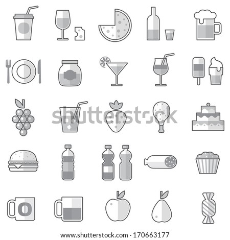 Set of 25 monochrome outline food icons