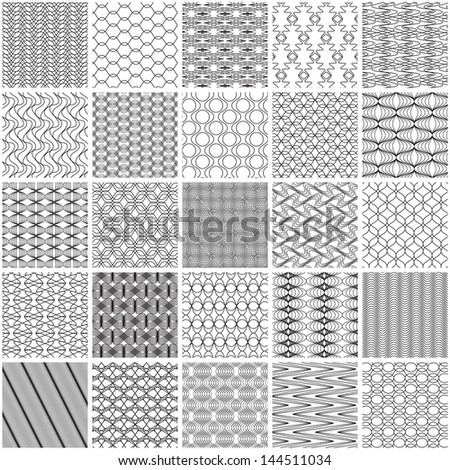 Set of 25 monochrome patterns (vector). Seamless pattern can be used for wallpaper, pattern fills, web page background,surface textures.