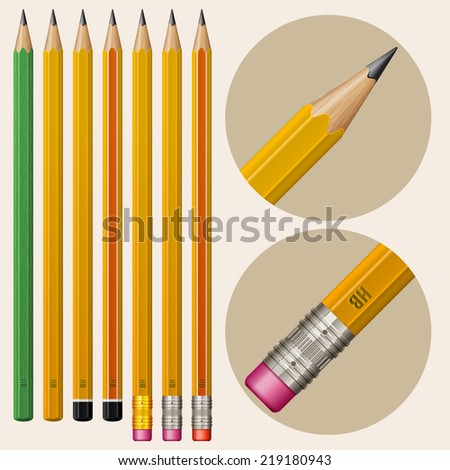 Set of monochrome pencils with erasers, vector