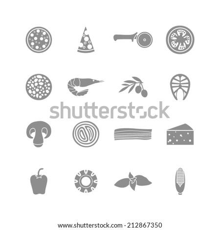 set of monochrome pizza icons - stock vector