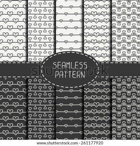 Set of monochrome romantic seamless pattern with hearts. Collection of paper for scrapbook. Vector background. Tiling. Hand drawn doodles. Stylish graphic texture for your design, wallpaper. - stock vector