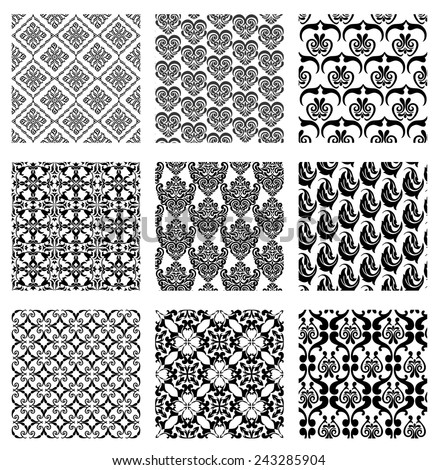 Set of monochrome seamless patterns. Vector illustration of 9  patterns collection for seamless background