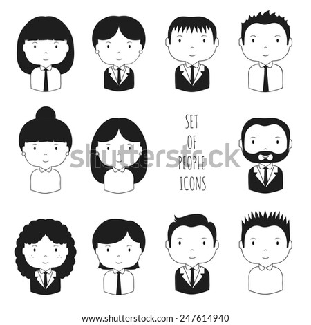 Set of monochrome silhouette office people icons. Businessman. Businesswoman. Cartoon hand drawn faces sketch for your design. Collection of cute avatar. Trendy doodle style. Vector illustration.