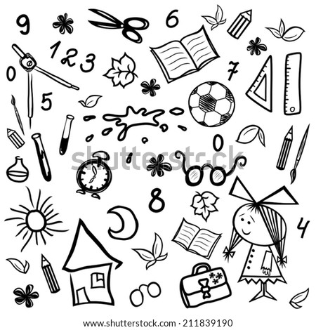 Set of monochrome sketches by children and school themes, vector illustration hand drawing - stock vector