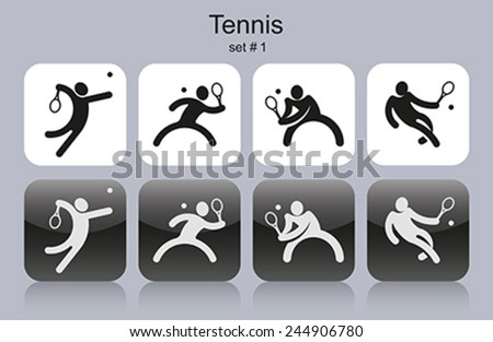 Set of monochrome tennis icons. Editable vector illustration. - stock vector