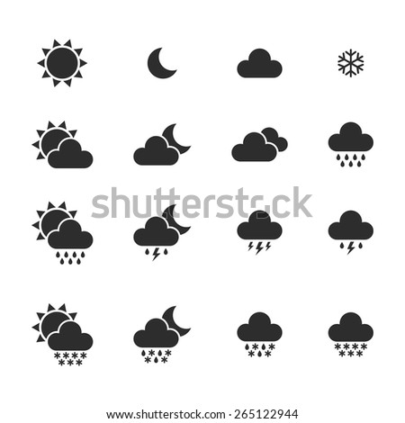 Set of monochrome weather icons isolated on white background. Vector illustration - stock vector
