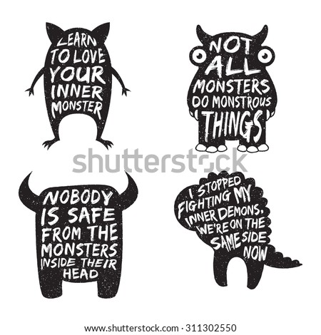 set of monster typography posters and quotes. artworks for wear. vector inspirational illustration - stock vector