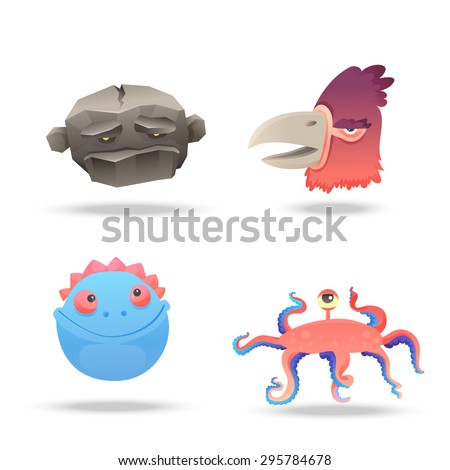 Set of monsters heads, portraits isolated on white background. Big bird, rock monster, ocean creature and cute blue face. Suitable for animation, video and games. Vector illustration - stock vector