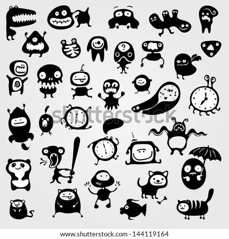 Set of monsters silhouettes, vector illustration