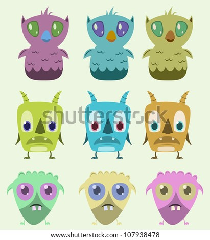 Set of monsters - vector illustration