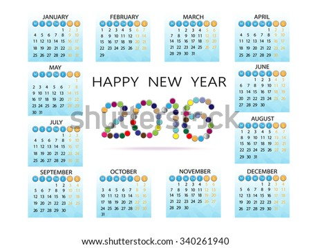 set of month in 2016 calendar, illustration and vector