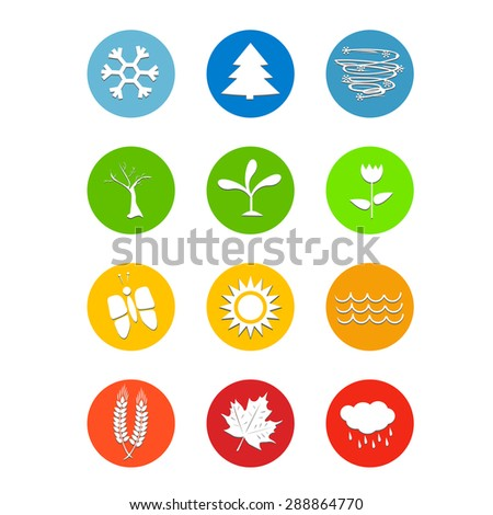 Set of 12 months calendar icons Weather four seasons symbol vector illustration for print, web design - stock vector