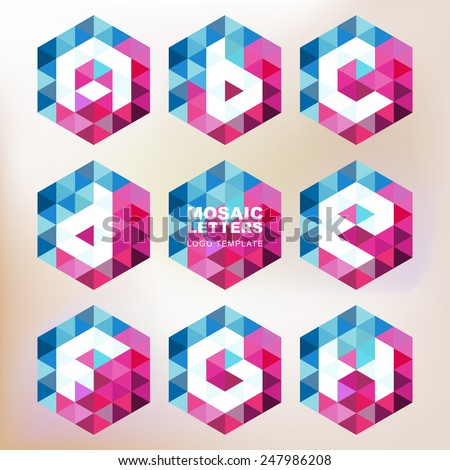 Set of mosaic letter icons. Geometric logo design template. Corporate style, business technology abstract symbol.  - stock vector