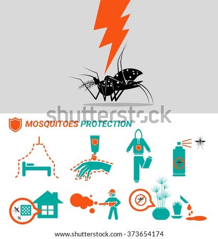 Set of Mosquitoes protection malaria Dengue and zika virus - stock vector