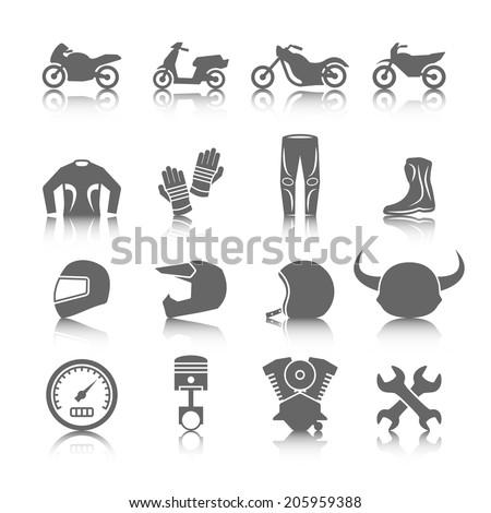 Set of motorcycles helmet gloves boots jacket pants riders icons in gray color with reflection - stock vector
