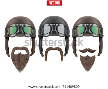Set of motorcyclist with a beard and moustache. Vector Illustration isolated on white - stock vector