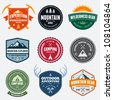 Set of mountain adventure and expedition logo badges - stock