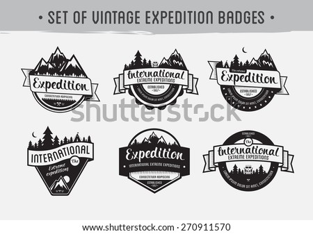Set of mountain adventure and travel emblems. Exploration vector badges.  - stock vector