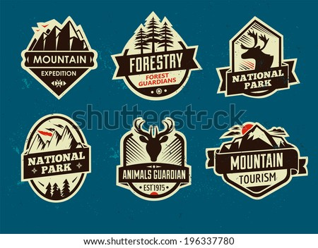 Set of mountain adventure and travel emblems. Vector - stock vector
