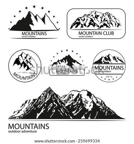 Set of mountain and expedition logo emblems. Outdoor adventure collection. - stock vector